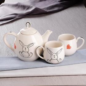 """Чайный набор """"Петелька"""", 3 предмета, белый, зайчик, 1.1/0.38 л"""