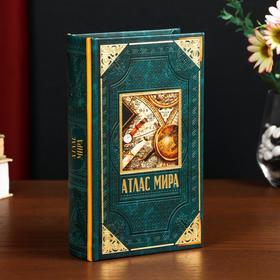 """Safe-book tree leatherette """"world Atlas"""" 21х13х5 cm"""