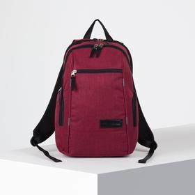 Рюкзак молодёжный, 2 отдела на молниях, 2 боковых кармана, цвет бордовый