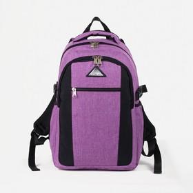 Рюкзак молодёжный, 2 отдела на молниях, наружный карман, 2 боковых кармана, цвет сиреневый