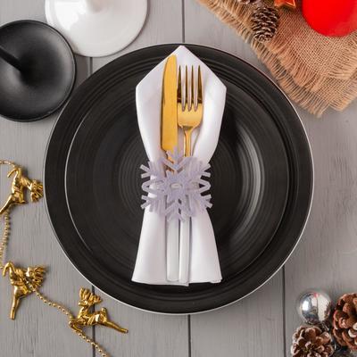 "Decor for napkins ""snowflake"" grey 7x8 cm 100% p/e, felt"
