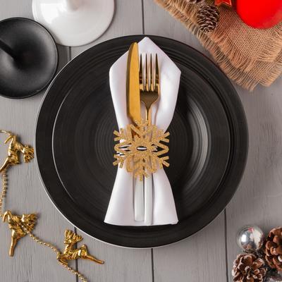 "Decor for napkins ""snowflake"" gold 7x8 cm 100% p/e, felt"