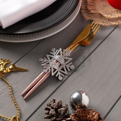 "Decor for dining items ""snowflake"" silver 6,5x7,5 cm, 100% p/e, felt"