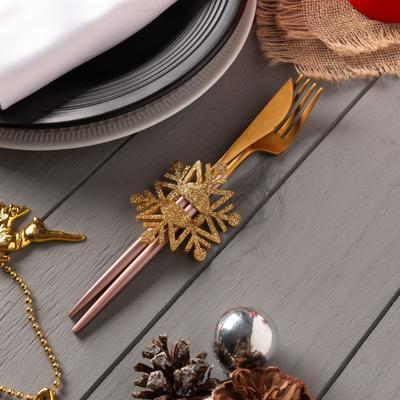 "Decor for dining items ""snowflake"" gold 6,5x7,5 cm, 100% p/e, felt"