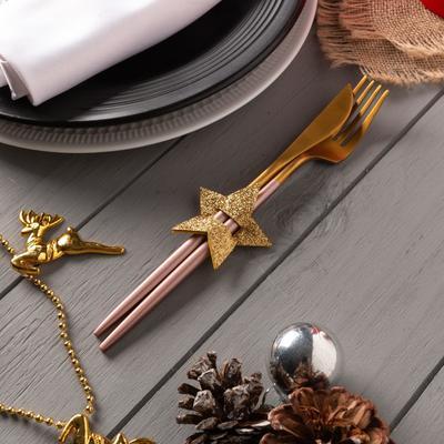 """Decor for dining items """"Star"""" gold 6x5,7 cm, 100% p/e, felt"""