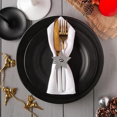 "Decor for dining items ""Star"" silver 6x5,7 cm, 100% p/e, felt"