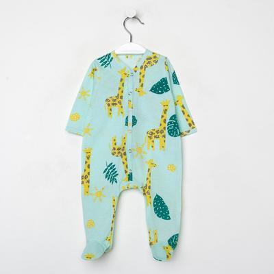 Комбинезон детский, цвет бирюзовый/жираф, рост 74 см