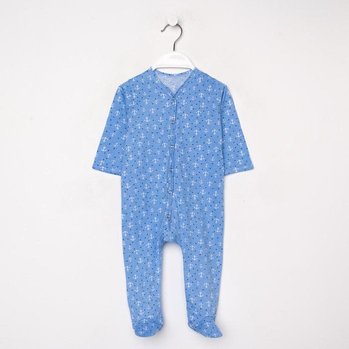 Комбинезон детский, цвет голубой/якоря, рост 68 см - фото 105474104