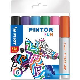 Маркер для декора Набор 6цв Pilot PINTOR Fun перман. 4.5мм, пласт/уп Pintor-Fun-M-S6
