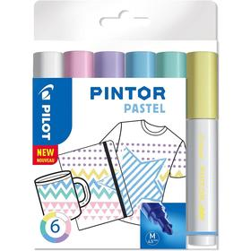 A set of markers for decor 6tsv Pilot PINTOR Pastel perman. 4.5mm, plastic / pack Pintor-Pastel-M-S6_
