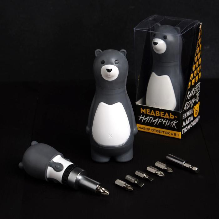 """Подарочный набор инструментов """"Медведь-напарник"""", подарочная упаковка, набор бит 7 шт, держатель для бит - фото 493363"""