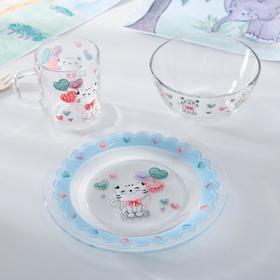 Набор детской посуды «Котёнок», 3 предмета: кружка 200 мл , миска 450 мл, тарелка 20 см,