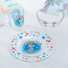 Набор детской посуды Доляна «Зайчонок», 3 предмета: кружка 200 мл, миска 450 мл, тарелка 20 см, - фото 105460557