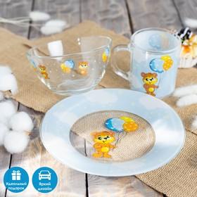 """Набор детской посуды 3 предмета """"Мишутка"""" миска 450 мл, тарелка 20 см, кружка 200 мл"""