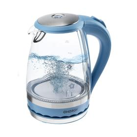 Чайник электрический ENERGY E-279, стекло, 1.5 л, 2200 Вт, голубой
