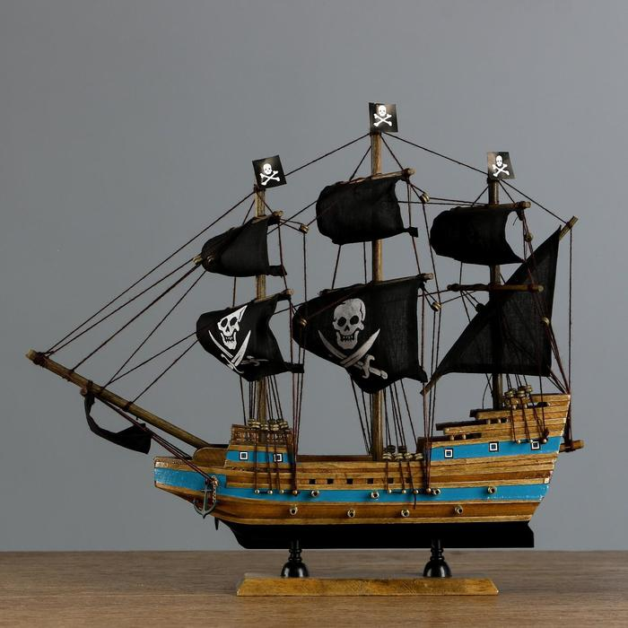 """Корабль пиратский """"Веселый Роджер"""" борт с синей полосой, 40*8*35см"""