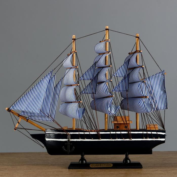 Корабль трехмачтовый сине-белые папруса, 40*8*35см