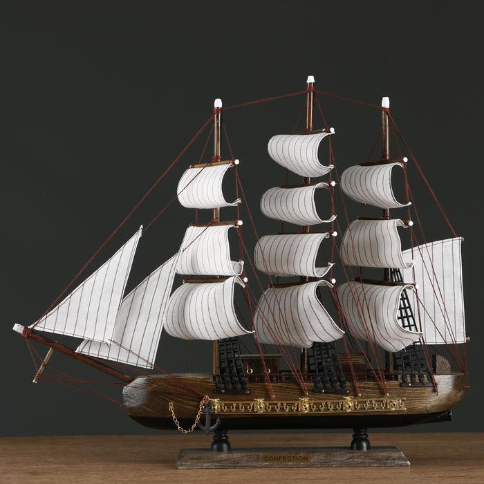 Корабль трехмачтовый с белыми парусами, 48*10*45см