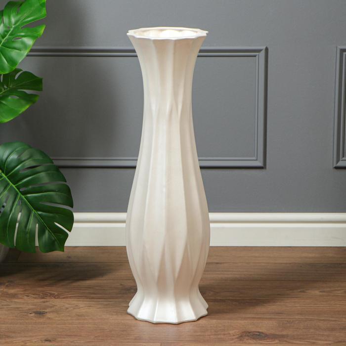 """Ваза напольная """"Кристалл"""", белая, керамика, 70 см - фото 7267230"""