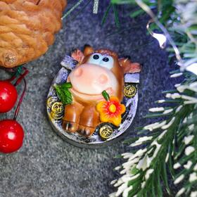 "Magnet ""Horseshoe with Cow"" silver+Cortney, 4,5х4х2см"