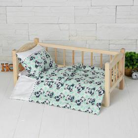 """Кукольное постельное""""Панды на белом""""простынь,одеяло,46*36,подушка 23*17"""
