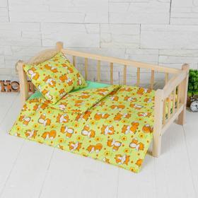 """Кукольное постельное""""Лисоньки на зеленом """"простынь,одеяло,46*36,подушка 23*17"""
