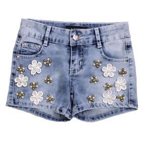 Шорты джинсовые для девочек, рост 140 см