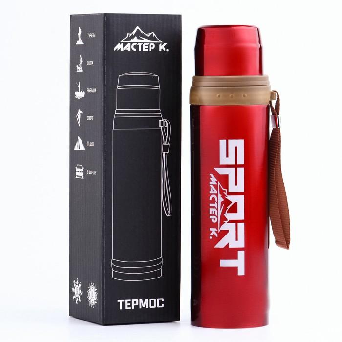 """Термос """"Спорт"""", 700 мл, сохраняет тепло 10 ч, красный, 7.5х28 см - фото 67342"""