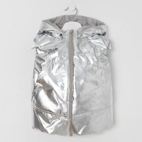 Жилетка для девочки, цвет серебро, рост 98-104 см