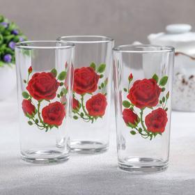 """Набор стаканов 230 мл """"Алая роза"""", 3 шт"""