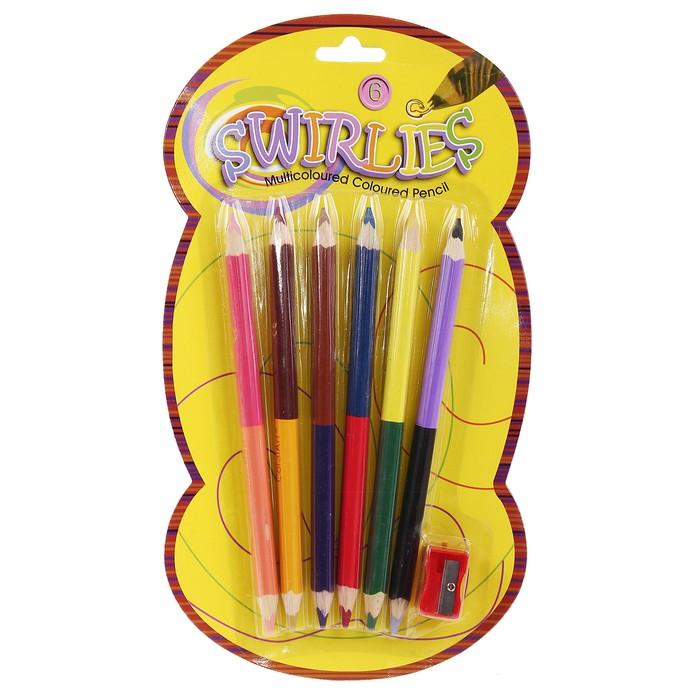 Карандаши 6 штук - 12 цветов, толстые, двухцветные, корпус треугольный, на блистере с точилкой
