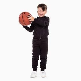 Спортивный костюм (толстовка, брюки) для мальчика, цвет чёрный, рост 104 см (30)