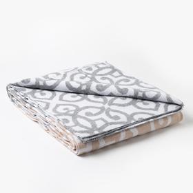 Одеяло хлопковое «Вензель» 140х205 см, цвет светло-серый/бежевый
