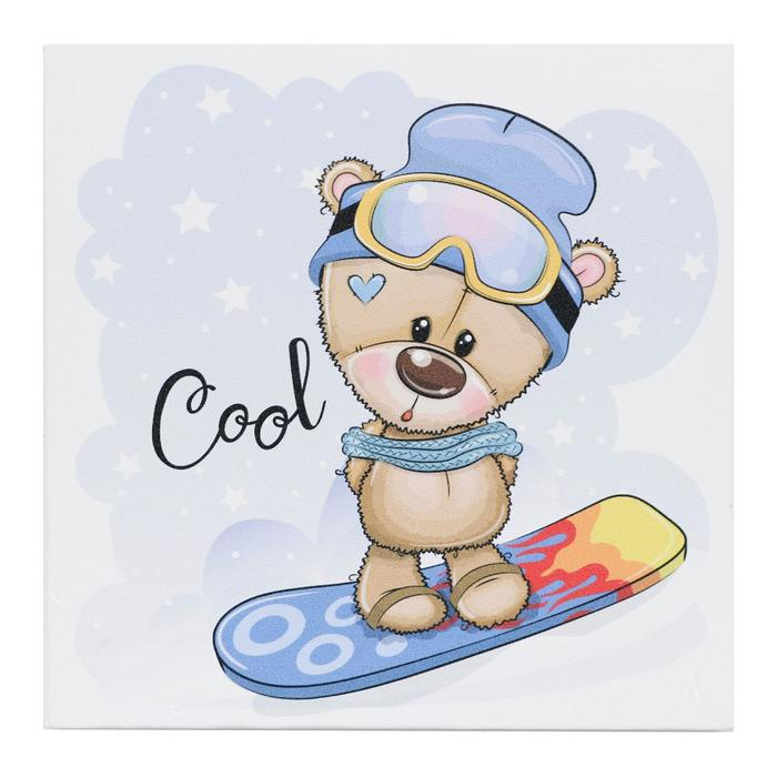 "Картина ""Мишка на сноуборде"" 35х35 см - фото 904322"