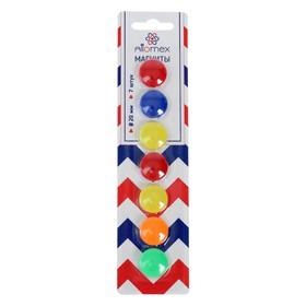 Магниты для досок 20 мм, 7 штук, микс х 5 цветов, в картонном блистере, Attomex