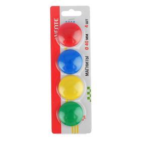 Магниты для досок 40 мм, 4 штуки, микс х 4 цвета, в картонном блистере, deVente