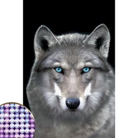 """Diamond embroidery with a partial filling in of """"the Wolf"""" 20*30 cm on canvas"""