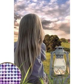 """Алмазная вышивка с частичным заполнением """"Девочка с фонарем"""" 20*30 см на холсте"""