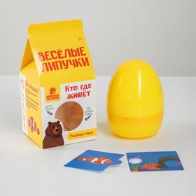 Игра на липучках «Весёлые липучки. Кто где живёт», в яйце