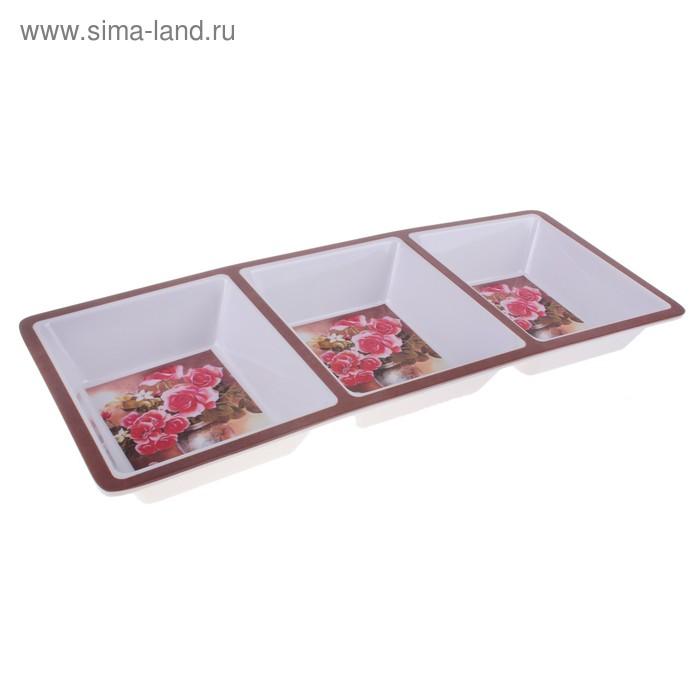"Менажница 37,5х15 см ""Розовый бум"", 3 секции"