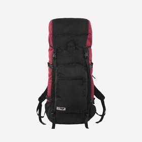 Рюкзак туристический, 90 л, отдел на шнурке, наружный карман, 2 боковые сетки, цвет чёрный/вишня