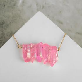 """Колье """"Агат"""" сталактиты, цвет розовый в золоте , длина 45см"""