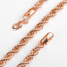 """Цепь """"Кордовое плетение"""" плотное, каплев карабин, цвет роз золото, ширина 6 мм, L=60 см"""