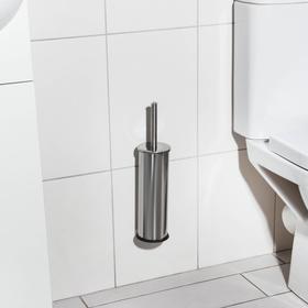 Ёрш для унитаза с подставкой настенный EFOR «Практик», 9,5×9,5×36 см, нержавеющая сталь