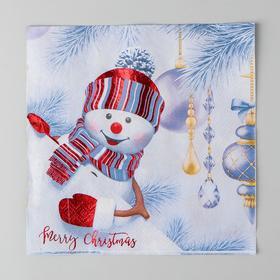 Салфетки бумажные «Снеговик», 33х33 см