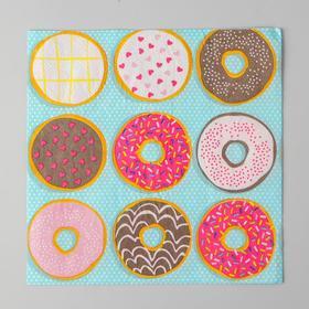 Салфетки бумажные «Пончики», 33х33 см
