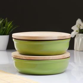 """Набор для холодца """"Вятский №2"""" (2 емкости + 2 деревянные крышки), салатовый"""