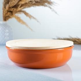 """Набор для холодца """"Вятский №1"""" (1 емкость + 1 деревянная крышка), оранжевый"""