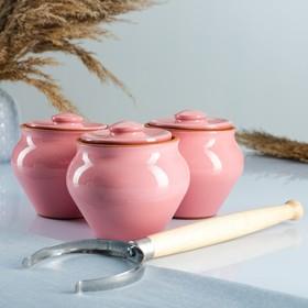 """Набор """"Вятская керамика Трио"""" 0,5лх3шт + ухват, розовый"""