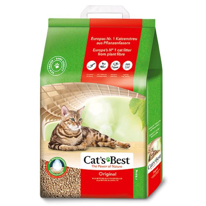Наполнитель древесный комкующийся Cat's Best Original, 20 л, 8,6 кг - бд